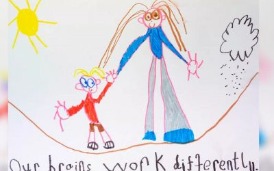 Un niño dibuja un libro para explicar el autismo a su madre